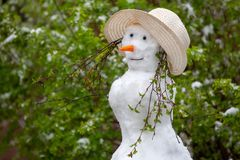 Snowman on the green background. Catalysms of nature. Spring day stock photography