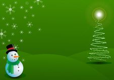 Snowman with green Christmas Background Royalty Free Stock Image