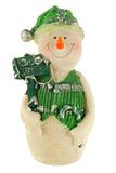 Snowman in green clothes Stock Photography