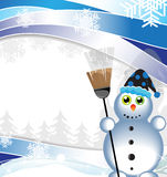 Snowman with green eyes Royalty Free Stock Photography