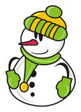Snowman in green hat Royalty Free Stock Images