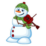 Snowman with green head cover and green scarf playing the violin for your design vector illustration Stock Image