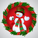 Snowman in Green holly wreath round frame with a red ribbon Royalty Free Stock Photos