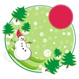 Snowman green ski card illustration Royalty Free Stock Images
