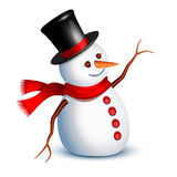 Snowman greeting. Happy snowman greeting with an arm stock illustration