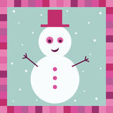 Snowman greeting card Royalty Free Stock Image