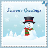 Snowman greeting card Royalty Free Stock Photo