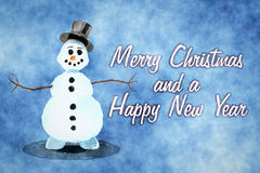 Snowman greeting card Royalty Free Stock Photography