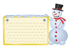 Snowman with greetings card Stock Images