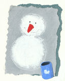 Snowman on the grey background Royalty Free Stock Photo