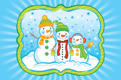 Snowman Group Royalty Free Stock Image