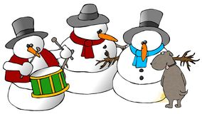 Snowman Group And A Dog Royalty Free Stock Image