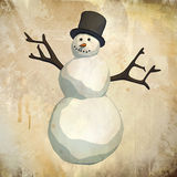 Snowman on grunge background Royalty Free Stock Photography