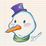 Snowman Hand Drawing on Paper Royalty Free Stock Image