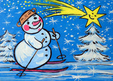 Snowman hand drawn Royalty Free Stock Photo