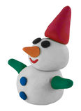 Snowman with hand and hat on white