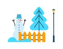 Snowman Hands Up, Christmas Tree, Fence Lantern. Snowman with hands up, bucket on head near Christmas tree, fence and lantern vector illustration winter cartoon Royalty Free Stock Image