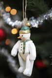 Snowman Hanging On Christmas Tree Royalty Free Stock Photography