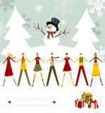 Snowman Happy Christmas card. Snowman celebrating Christmas and people holding hands with blank lines to write on snowy background. Vector file available Stock Image