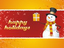 Snowman. Happy Holidays!. A fully scalable vector illustration of Snowman with gift. Happy holidays Royalty Free Stock Images