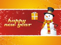 Snowman. Happy New Year!. A fully scalable vector illustration of Snowman with gift. Happy holidays Stock Photos