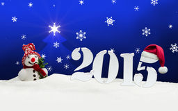 Snowman 2015 happy new year blue. Snowman 2015 happy new year stock illustration