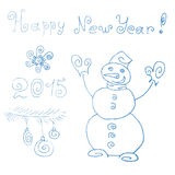 Snowman. Happy new year 2015. Hand drawing. Line art Stock Photography