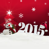 Snowman 2015 happy new year red. Snowman 2015 happy new year stock illustration
