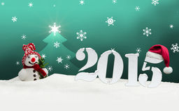 Snowman 2015 happy new year turquoise. Snowman 2015 happy new year stock illustration