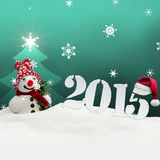 Snowman 2015 happy new year turquoise. Snowman 2015 happy new year Royalty Free Stock Image