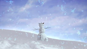 Snowman happy sky wide angle Stock Images