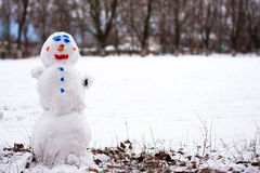 Snowman. Happy Snowman standing in winter landscape and smiling royalty free stock photography