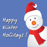 Snowman with happy winter holidays message Royalty Free Stock Image