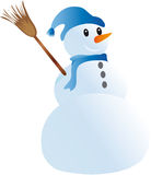 Snowman with a hat. Vector illustration depicts a snowman with a hat on his head Royalty Free Stock Photography