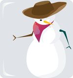 Snowman with a hat. And scarf on grey back ground Stock Images