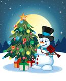 Snowman With Hat And Blue Scarf Playing The Violin With Christmas Tree And Full Moon At Night Background For Your Design Vector Il Stock Image