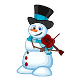 Snowman with hat and blue scarf playing the violin for your design vector illustration Royalty Free Stock Photo