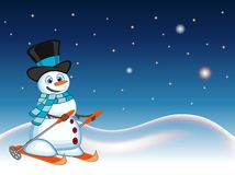 Snowman with hat and blue scarf is skiing with star, sky and snow background for your design vector illustration Royalty Free Stock Image