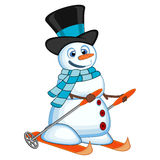 Snowman with hat and blue scarf is skiing for your design vector illustration Stock Photos