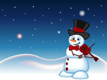 Snowman with hat and bow ties playing the violin with star, sky and snow hill background for your design vector illustration Royalty Free Stock Photos