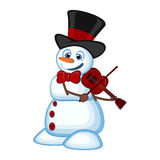 Snowman with hat and bow ties playing the violin for your design vector illustration Stock Images