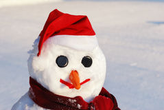 Snowman with hat, carrot nose Royalty Free Stock Photos