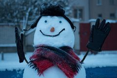 Snowman in a hat with earflaps. stock photo
