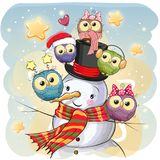 Snowman and five Cute Cartoon Owls Royalty Free Stock Images