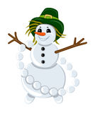 Snowman in a hat with garland of snowballs Royalty Free Stock Photography