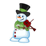 Snowman with hat, green sweater and green scarf playing the violin for your design vector illustration Stock Photos