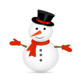 Snowman. With hat isolated on white background, illustration