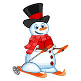Snowman with hat, red sweater and red scarf is skiing for your design vector illustration Royalty Free Stock Photo