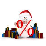 Snowman in a hat of Santa Claus surrounded by gift boxes Royalty Free Stock Image