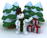 Snowman in hat and scarf Royalty Free Stock Photo